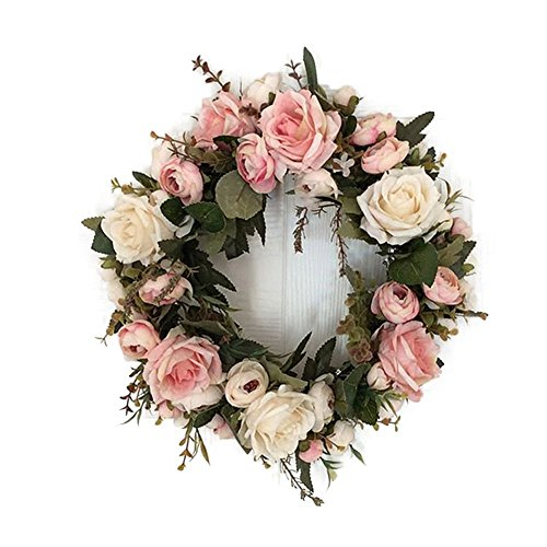 Lingstar Classic Artificial Simulation Flowers Garland for Home Room Garden Lintel Decoration,Pink Peonies