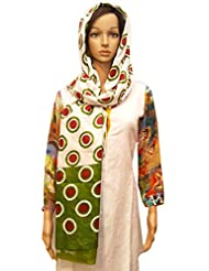 Dulhan Choice White Colour Cotton Dupatta With Green N Red Polka Print