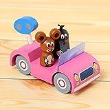 おもちゃ 木製 積木 木のおもちゃ 人形 置物 ネジ と キャラクター は取り外して 遊べます どこか 懐かしい モグラ の クルテク フィギュア付き木製ミニカー ピンク