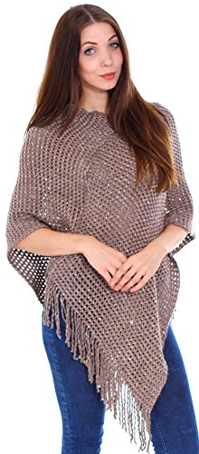 Simplicity Women's Long Knitted Pullover Tassel Edge Poncho Sweater, Mocha Brown