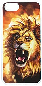 Graphics and More Fierce Lion Roar - Big Cat Africa - Snap-On Hard Protective Case for Apple iPhone 5/5s - Non-Retail Packaging - White