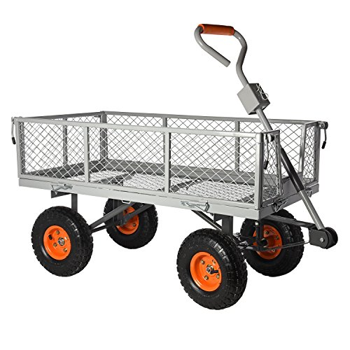 Ivation Garden Cart - Steel Mesh Convertible Flatbed Utility Wagon 400 Lb. Load Capacity - Measures 34