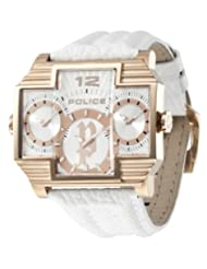 Police Men's PL-13088JSR/04 Hammerhead Rectangular Rose Gold IP Tri-Dial Leather Watch