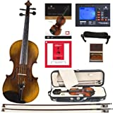 Cecilio CVN-600 Hand Oil Rubbed Highly Flamed 1-Piece Back Solidwood Violin with D'Addario Prelude Strings, Size 3/4