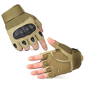 E-PRANCE Outdoor Fingerless Military Tactical Gloves for Airsoft Hunting Riding Game Color Yellow Size XL