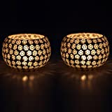 EarthenMetal Handcrafted Transparent Beads Decorated Tealight Holder (Candle Light Holder)- Set Of 2