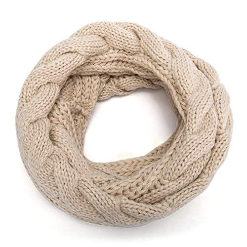 ALLMILL Womens Thick Ribbed Knit Winter Infinity Circle Loop Scarf (Beige)
