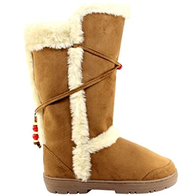 Womens Tan Faux Fur Lined Thick Sole Winter Snow Boots