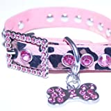 Xsmall: Pink Leather, Animal Print,rhinestone Dog Collar w/ Bling Dog Bone Pendant & Faux Fur