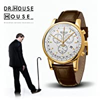 House M.D. 7167 Men's Analog Quartz Watch with Chronograph, Silver Dial, Brown Strap by Kronsegler