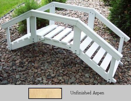 Prairie Leisure Design 47C Unfinished Aspen Decorative Garden Bridge With Posts And Rails - Unfinished