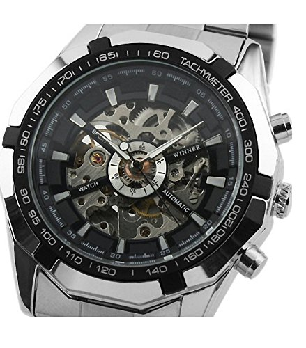 Mixeshop Cool watches For Men Skeleton Mens Black Automatic Mechanical Sport Wrist Watch Stainless Steel Band