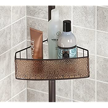 mDesign Bathroom Shower Tension Caddy for Shampoo, Conditioner, Soap - Sand/Bronze