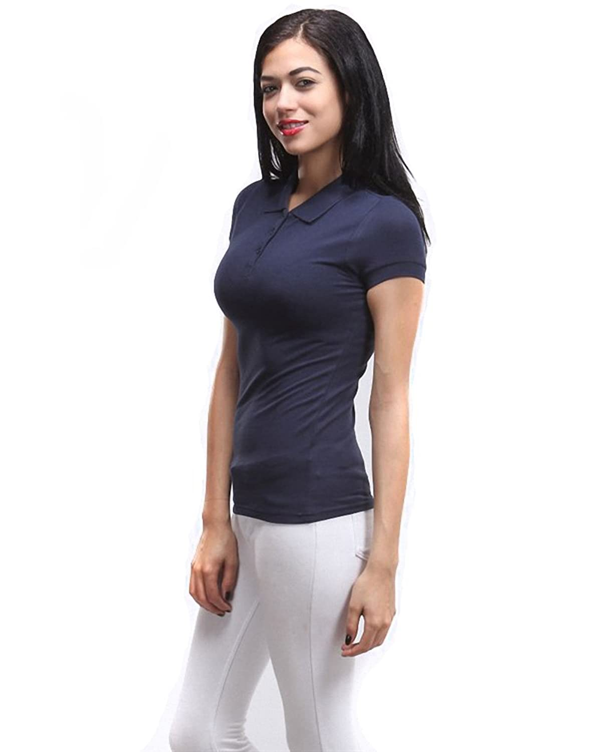 Sassy Apparel Women's Basic Pique Polo T Shirt Top