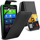 ONX3 Black Nokia X Protective Faux Credit / Debit Card Leather Flip Skin Case Cover & LCD Screen Protector Guard