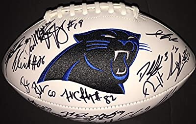 2015 Carolina Panthers Autographed Multi Signed Logo Football COA