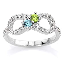 buy Personalized Couples Infinity Birthstone Ring 10K Yellow , White Or Rose Gold With 2 Birthstones And Cz Side Accents Personalized Family Jewelry