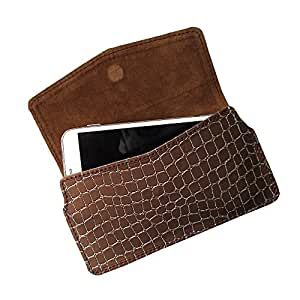 i-KitPit : PU Leather Pouch Case With Magnetic Closure For Lava Iris Pro 30 (BROWN)