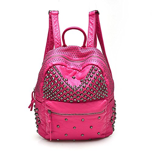 2017 Women Rivet PU Leather Backpack Women Fashion Backpacks for Teenage Girls Ladies Bags Black Satchel Bags Bolsa Feminina (Rose Color) (Aldo Rain Boots compare prices)