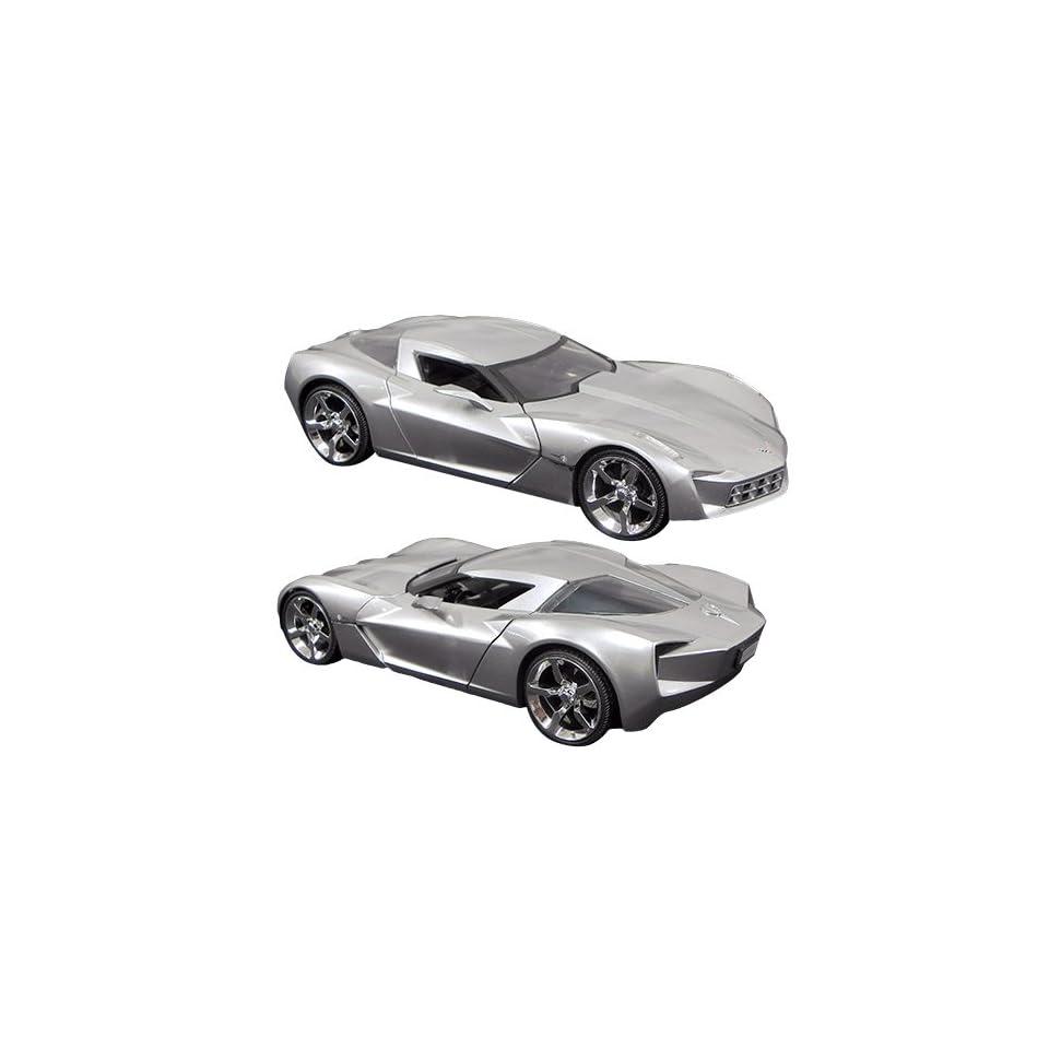 2009 Corvette Stingray Concept 1/24 Car Silver Jada Toys 92386
