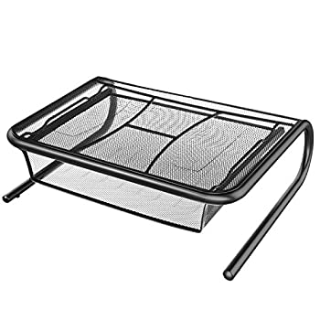 Monitor Stand Riser with Pull Out Storage Drawer - Mesh Metal Printer Holder with Ventilated Surface for Computer, Laptop, Printers - Keeps Your Devices Cool & Prevents Overheating - Premium Computer
