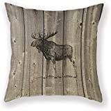 Customized Standard New Arrival Pillowcase Cabin Decor Moose Decorative Wilderness Rustic Throw Pillow 20 X 20 Square Cotton Linen Pillowcase Cover Cushion