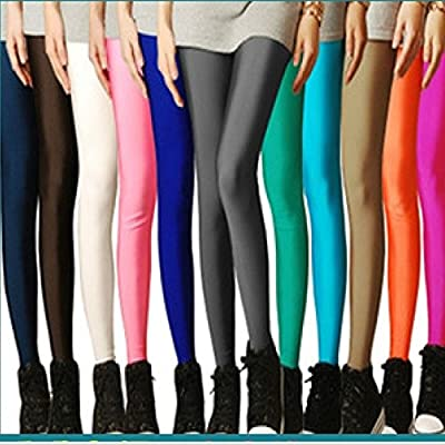 Sexy Solid Candy Neon Plus Size Women's Leggings High Stretched Sports Jeggings Fitness Clothing Ballet Dancing Pant