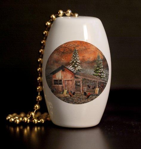 Winter Chicken Farm Porcelain Fan / Light Pull