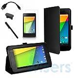 【wisersオリジナル】 5点セット 2013 Google New Nexus 7 FHD 2nd 2 専用ケース カバー スタンド機能付き Nexus7 2 7インチ Android 4.3 タブレット ブラック アンチグレア液晶、OTGケーブル、タッチペン、microUSBカバー