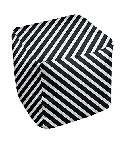 E by design Stripe Pouf, 13-Inch, White - 1