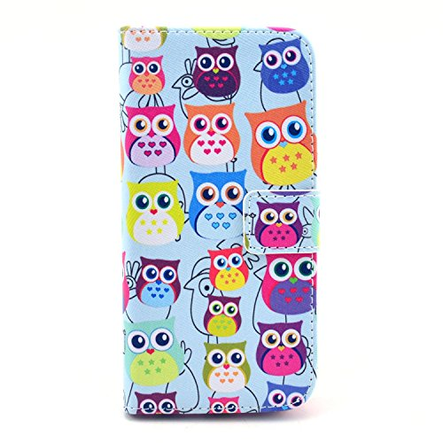 iPhone 5/5S/SE Case, Firefish Slim Flip Folio Top Grade [Kickstand] PU and TPU Case Magnet Buckle Cover [Impact Resistant] Card Holder Cash Pouch for Apple iPhone 5/5S/SE-Owls (Good Company Always Welcome Decal compare prices)