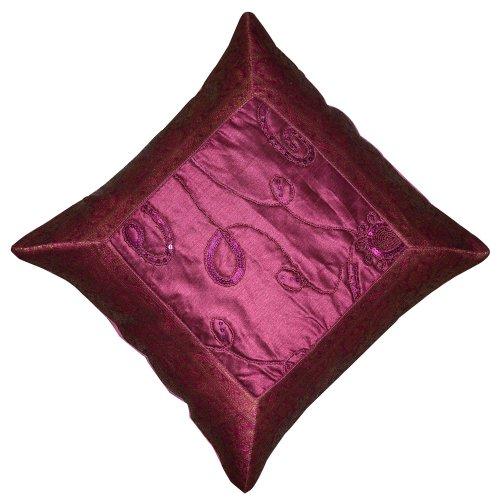 """Handmade Silk Brocade Stuffed Sequins Pink Cushion Pillow Cover, Size 15"""" X 15"""""""