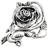 Sterling Silver Woman's Rose Vine Ring Polished Pure 925 Band 34mm Sizes 5-11