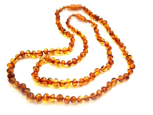 Amberta® Set of 2 Baltic Amber Necklaces for Mother and Child - Baroque Shaped Beads - Gognac Colour [MS06]