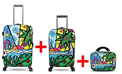 Heys USA - 3pcs. - SET 100 GBP Discount - Britto Palm, High-quality designer artist luggage set - 55 cm hand luggage, 66 cm 4-wheels Trolley and Beauty Case from Heys USA