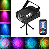 EAAGD Party Lights Strobe 7 color Ocean Wave Projector Stage Halloween Christmas Rgb Led Par Light Lighting with Remote for DJ Bar Karaoke Xmas Wedding (Black)