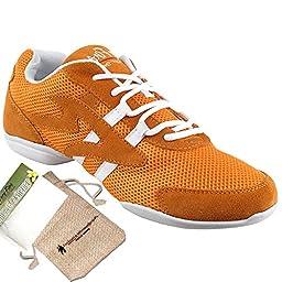 Bundle Lightweight Very Fine Mens Womens Salsa VFSN012 Split Sole Dance Sneaker + Shoe Freshener + Pouch Orange 7.5 M US