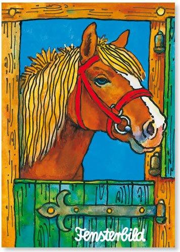 Fensterbild * Pferd im Stall * als Postkarte von LUTZ MAUDER // Fensterbilder Aufkleber Sticker Geschenk Bild Karte Mädchen Pony Pferde Pferd Fohlen
