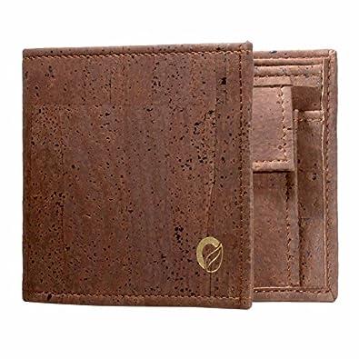 Corkor - Men's Trifold Wallet, Cork Traveller Wallet, Unique Vegan Gift, Dark Brown