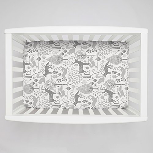 Carousel Designs Gray Woodland Animals Mini Crib Sheet 5-Inch-6-Inch Depth (Mini Crib Sheets 6in Deep compare prices)