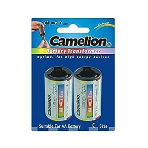 Camelion - 2 Adaptateurs Transformateurs Convertisseurs de Piles Accus LR06 AA vers C LR14