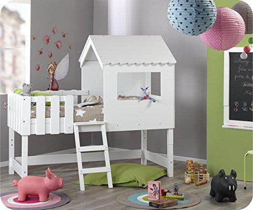 Paket Mitwachsendes Hütte Bett Swam weiß mit Matratze jetzt kaufen