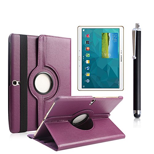 Boriyuan Ultra Slim Portable 360 Degree Rotating Protective Flip Folding Pu Leather Carrying Case Cover With Elastic Hand Strap Multi-Angle View Stand Holder Feather For New 2014 Samsung Galaxy Tab S 10.5 Inch T800 With A Free Stylus Touch Screen Pen (Pur