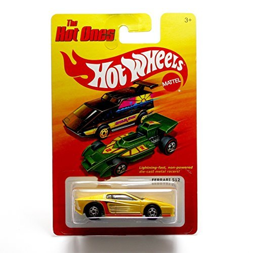 FERRARI 512 (YELLOW) * The Hot Ones * 2011 Release of the 80's Classic Series - 1:64 Scale Throw Back HOT WHEELS Die-Cast Vehicle