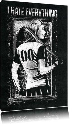 Dark Tutto immagine nera su tela Odio, enorme XXL Immagini completamente Pagina con la barella, stampe d'arte su murale con telaio, più economico di pittura o pittura ad olio, nessun manifesto o poster dimensioni: 120x80 cm
