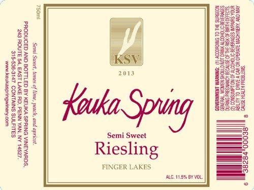 2013 Keuka Spring Vineyards Semi Sweet Riesling Finger Lakes 750 Ml