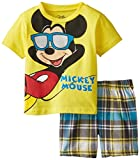 Disney Baby Boys' Mickey Mouse Tee with Plaid Short Set, Yellow, 24 Months