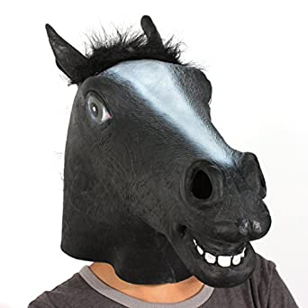 The beauty way Black Horse Mask: Full Face Rubber Latex with Faux Fur Costume Mask