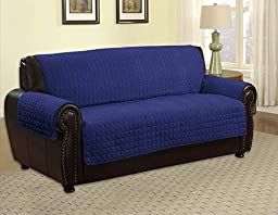 Quilted Microfiber Pet Dog Couch Sofa Furniture Protector Cover, Kashi, 5 Colors, 3 Sizes (Navy 110\