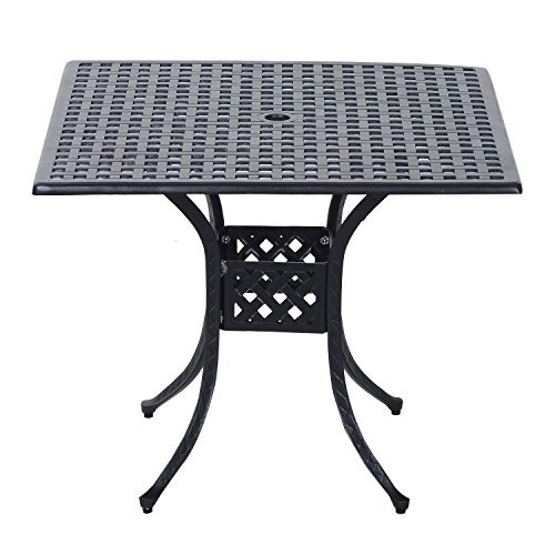 "Outsunny 36"" x 36"" Square Metal Outdoor Patio Bistro Table with Umbrella Hole"